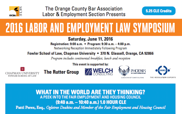 Sessions and Kimball Employment Law Firm in Mission Viejo is Participating in the 2016 Labor and Employment Law Symposium